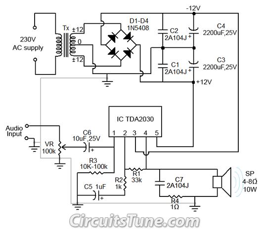 Peachy 10W Audio Amplifier Circuit By Tda2030 Wiring Diagram Guide Wiring Cloud Vieworaidewilluminateatxorg