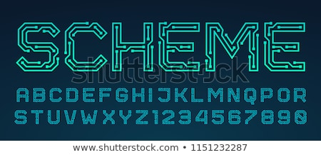 Sensational Vector Printed Circuit Board Style Font Stock Vector Royalty Free Wiring Cloud Waroletkolfr09Org