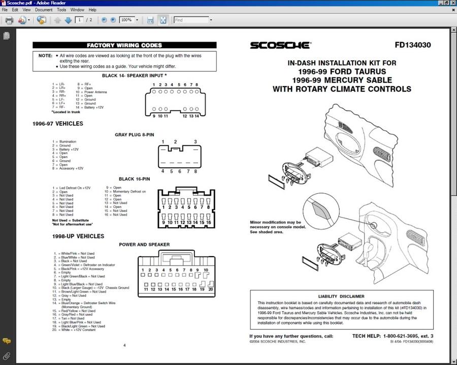 99 ford taurus stereo wiring fg 1122  99 ford taurus stereo wiring  fg 1122  99 ford taurus stereo wiring