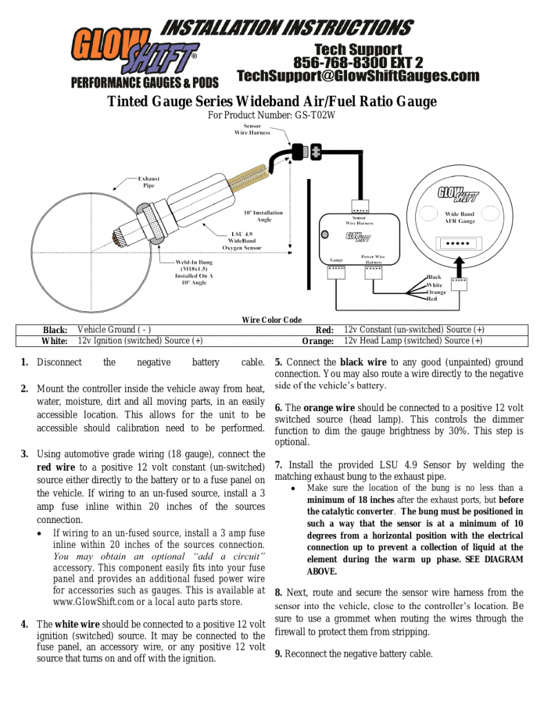 Glowshift Air Pressure Gauge Wiring Diagram
