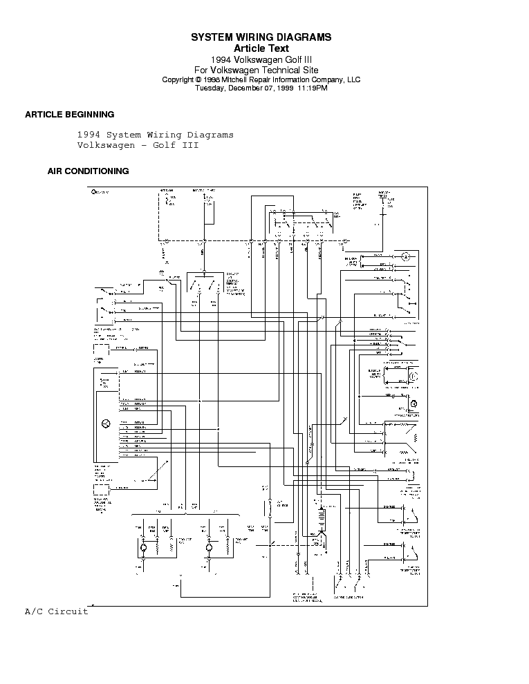 Vw Golf 3 1995 Wiring Diagrams