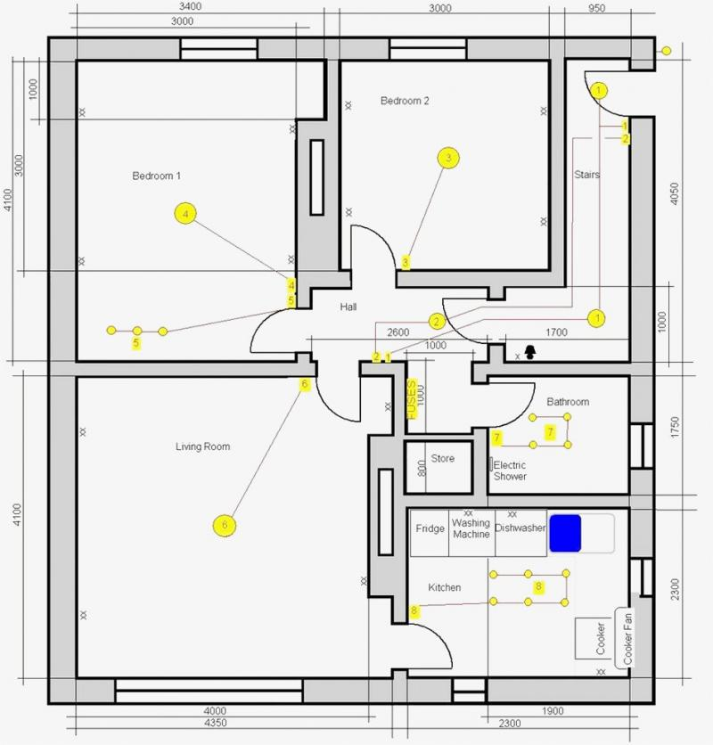 electrical wiring diagram of three bedroom flat