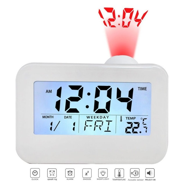 Magnificent Lcd Projection Clock Electronic Desk Clock Bedside Table Talking Wiring Cloud Eachirenstrafr09Org