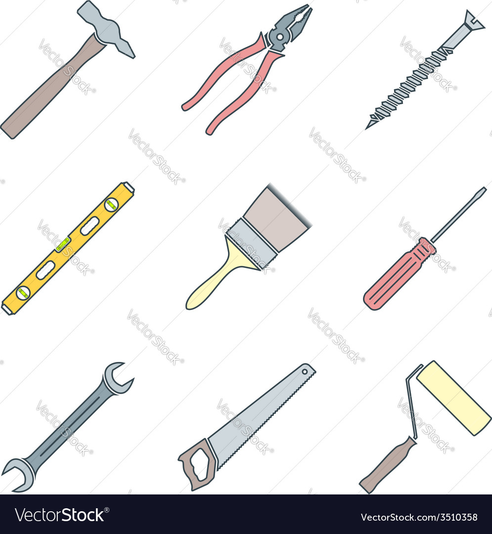 Astounding Color Outline House Remodel Tools Icons Royalty Free Vector Wiring Cloud Onicaalyptbenolwigegmohammedshrineorg