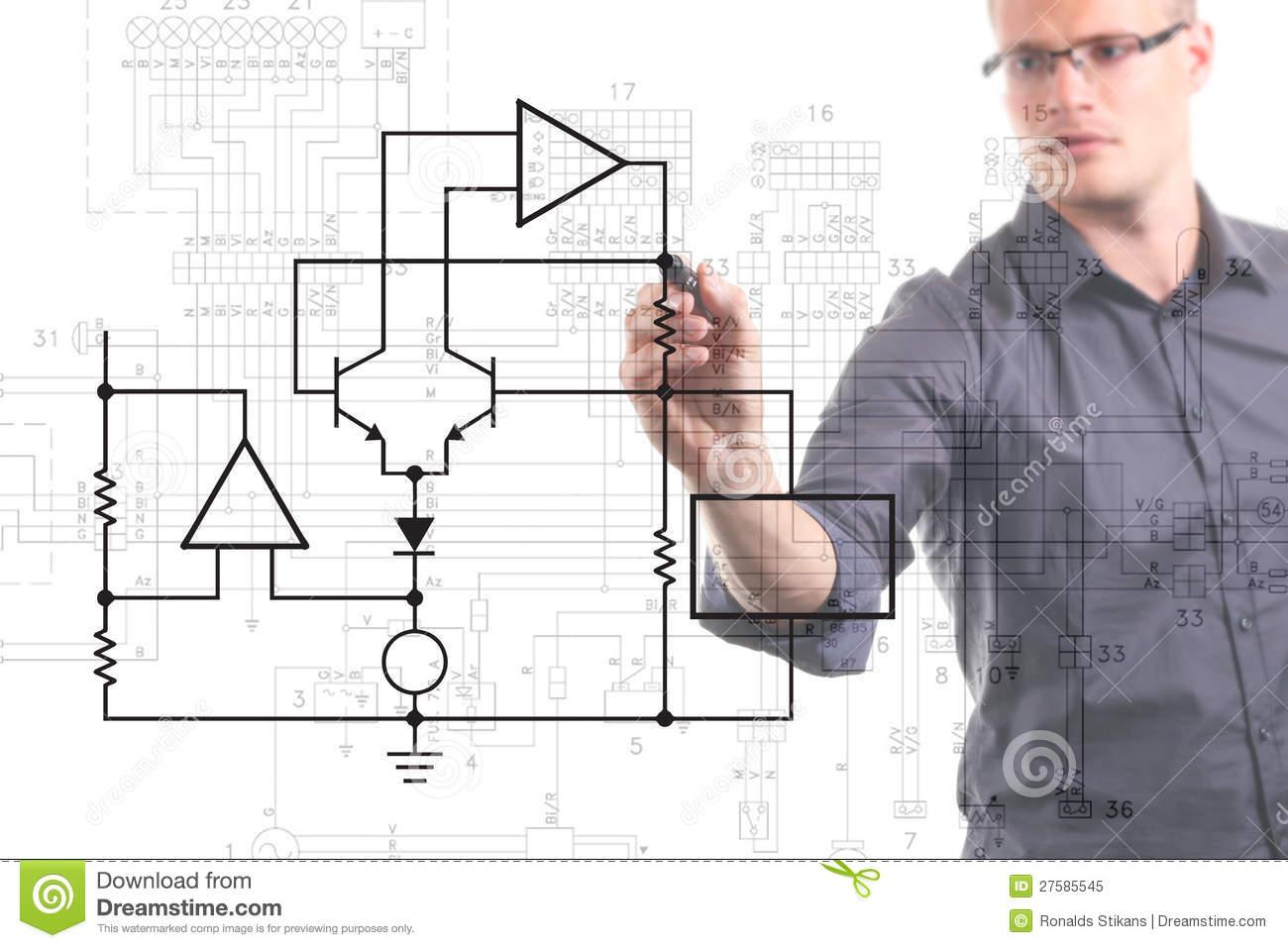 Miraculous Hand Drawing A Blockdiagram Royalty Free Stock Photos Image Wiring Cloud Cranvenetmohammedshrineorg