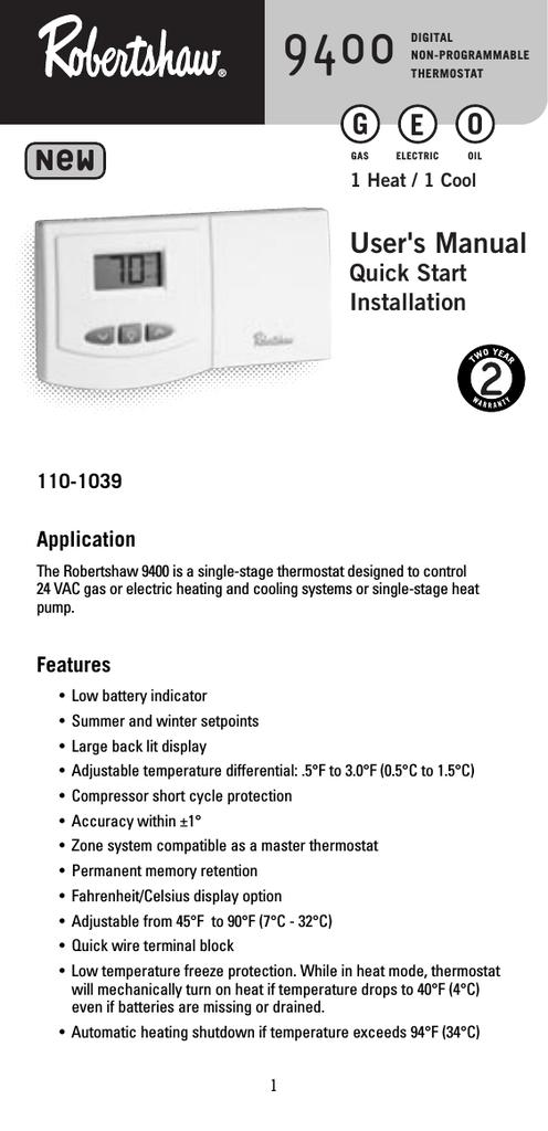 Robertshaw Rs5110 Wiring Diagram