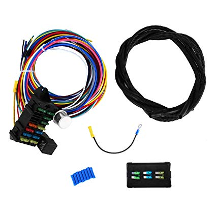 Wondrous Amazon Com Mophorn 12 Circuit Wiring Harness 12 Fuses Universal Wiring Cloud Uslyletkolfr09Org