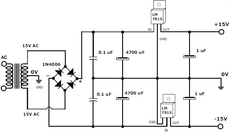 Cool 15V 1A Regulated Symmetrical Power Supply Schematic And Pcb Layout Wiring Cloud Timewinrebemohammedshrineorg