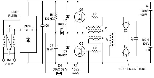 Electronic Fluorescent Lamp Ballast Circuit Diagram