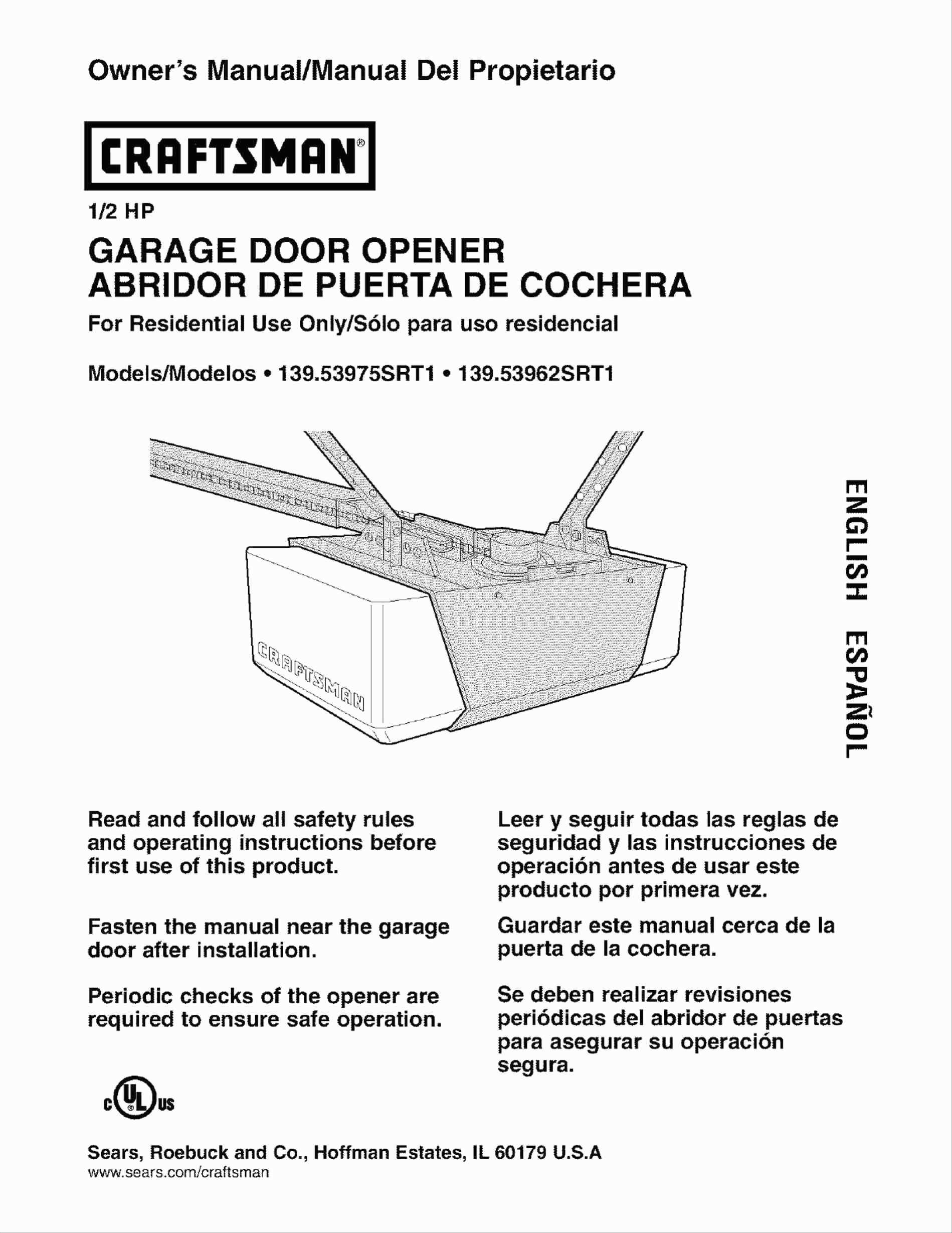 Chamberlain Garage Door Openers Manual 1 2 Hp