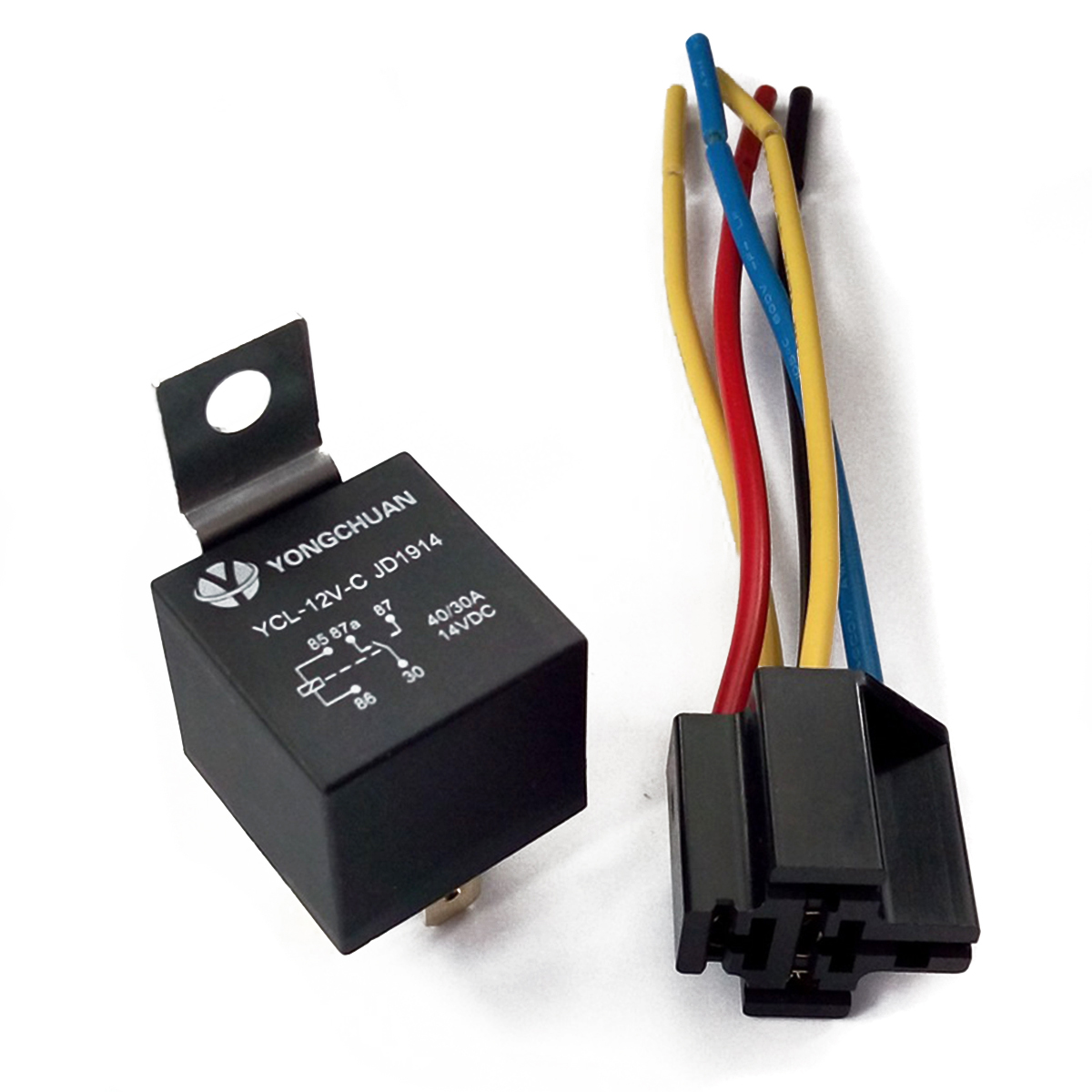 Stupendous Lot5 New 12 Volt 30 40 Amp Spdt Automotive Relay With Wires Wiring Cloud Genionhyedimohammedshrineorg