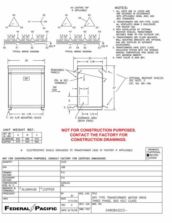 Terrific Federal Pacific Transformer Wiring Diagram Kva Transformer Primary Wiring Cloud Xempagosophoxytasticioscodnessplanboapumohammedshrineorg