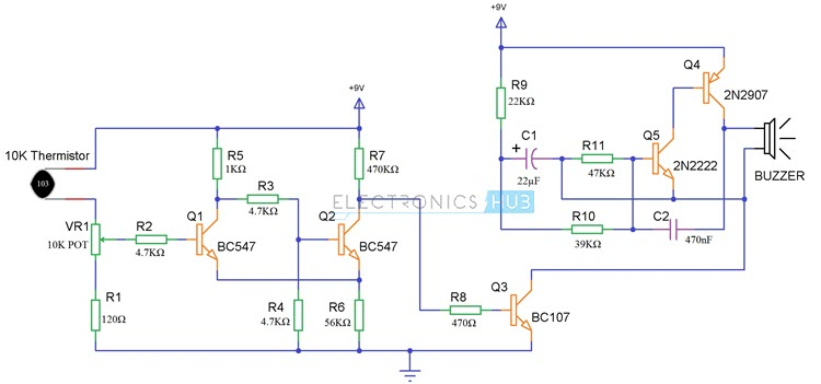 Magnificent Simple Fire Alarm Circuit Using Thermistor Germanium Diode And Lm341 Wiring Cloud Eachirenstrafr09Org