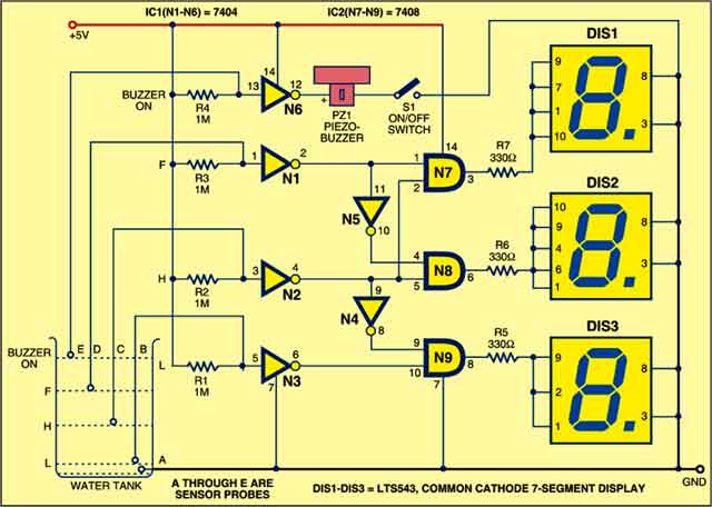 circuit diagram for 7 segment decoder yl 5120  water level indicator electronic circuit that uses a  level indicator electronic circuit that