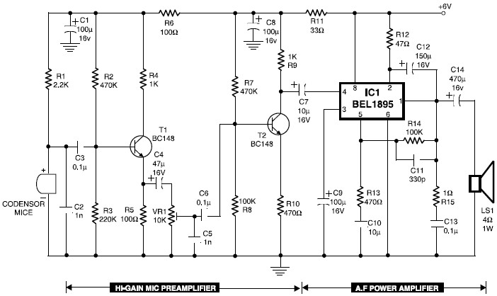 5532 ic mic preamplifire circuit lg 2782  electret microphone pre amp based ne5532 free diagram  lg 2782  electret microphone pre amp