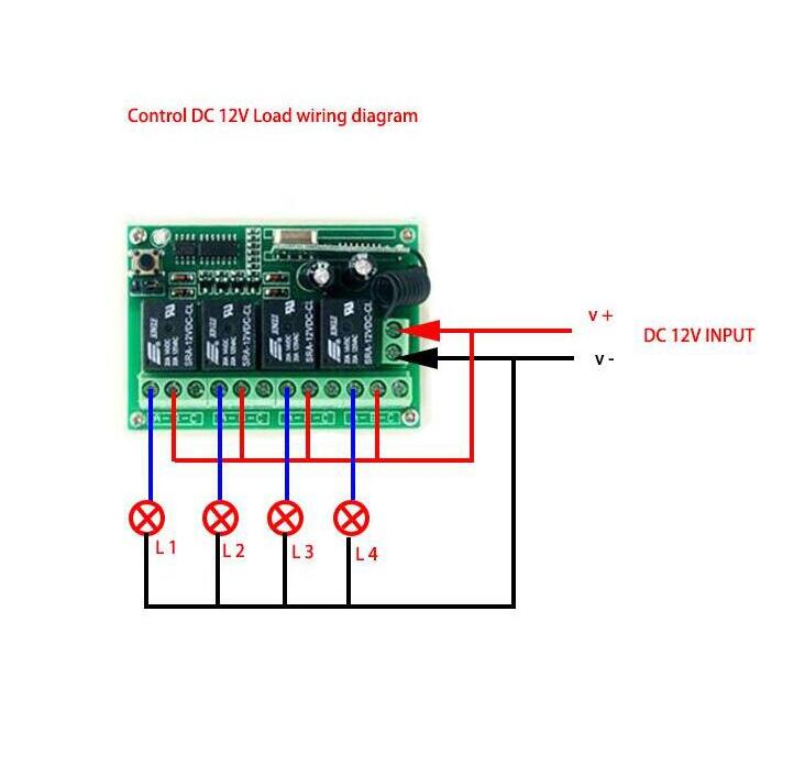 Remarkable Dc 12 V 4 Ch Wireless Remote Control Switch Rf Relay Transmitter Wiring Cloud Licukaidewilluminateatxorg