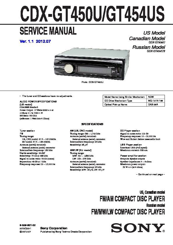 Marvelous Sony Cdx Gt400 Cdx Gt40W Cdx Gt450 Cdx Gt450S Service Manual Wiring Cloud Loplapiotaidewilluminateatxorg
