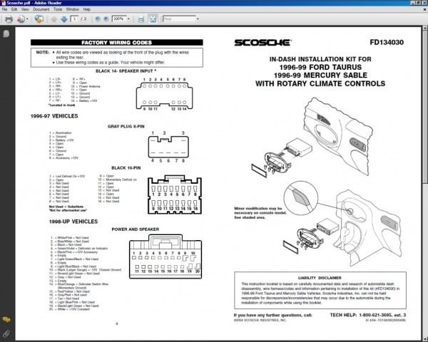 1996 Mercury Sable Radio Wiring Diagram