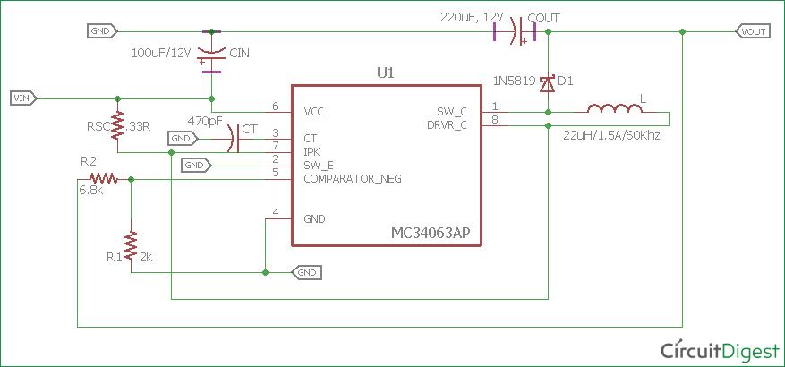 Stupendous 3 7V To 5V Boost Converter Circuit Diagram Using Mc34063 Wiring Cloud Rineaidewilluminateatxorg