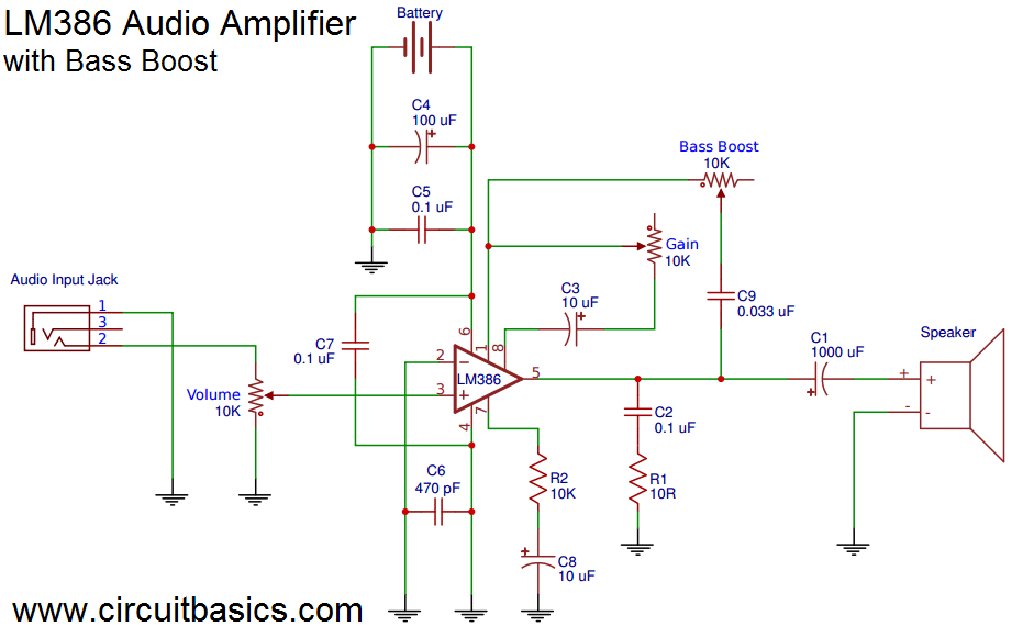 Astounding Build A Great Sounding Audio Amplifier With Bass Boost From The Lm386 Wiring Cloud Lukepaidewilluminateatxorg
