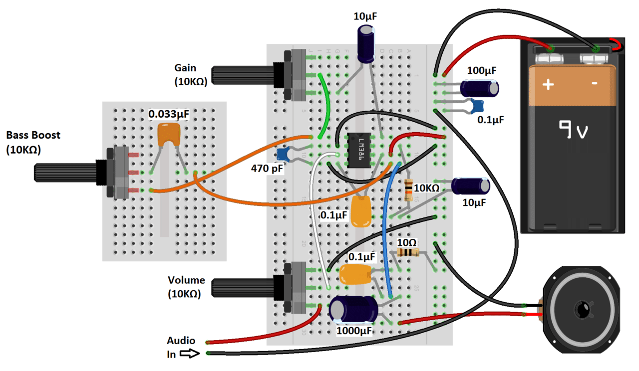 Strange Build A Great Sounding Audio Amplifier With Bass Boost From The Lm386 Wiring Cloud Staixaidewilluminateatxorg