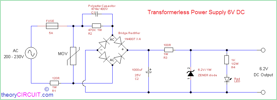 Groovy Transformerless Power Supply 6V Dc Wiring Cloud Gufailluminateatxorg
