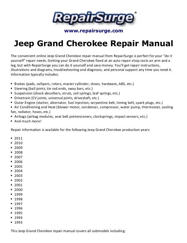 Jeep Grand Cherokee 1999 2000 2001 2002 2003 2004 Service Repair Manual Wiring