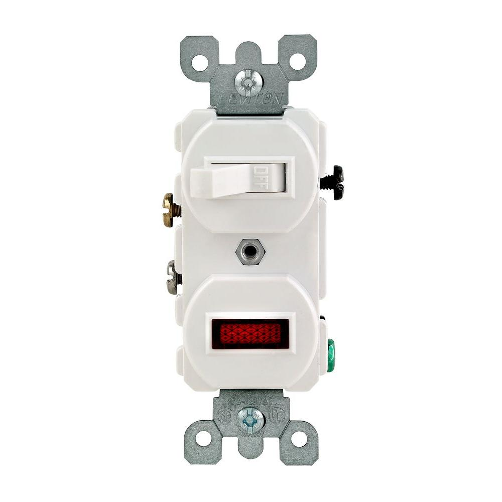 Fantastic Leviton 1 25W 125V Combination Switch With Neon Pilot Light White Wiring Cloud Orsalboapumohammedshrineorg