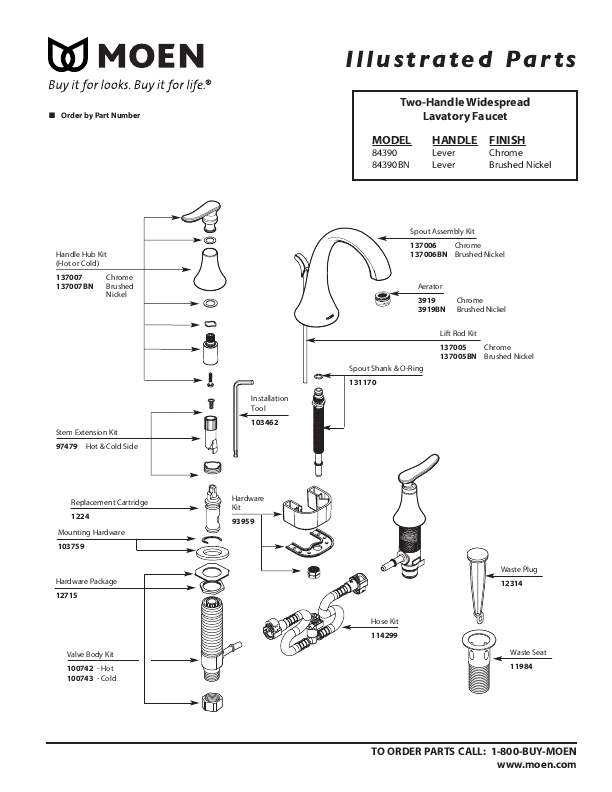 Moen Monticello Bathroom Sink Faucet Repair Instructions   Image