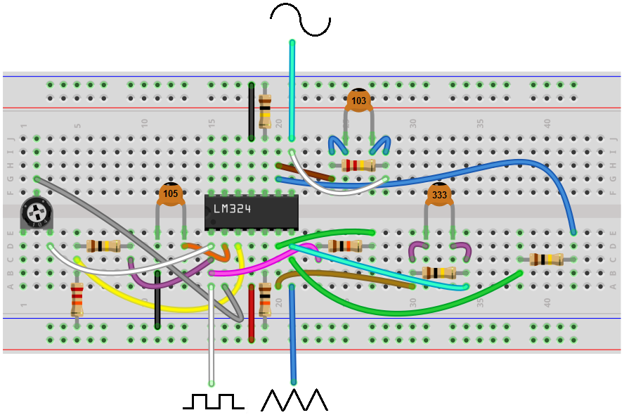 Sensational How To Build A Simple Function Generator Circuit With An Lm324 Op Wiring Cloud Lukepaidewilluminateatxorg