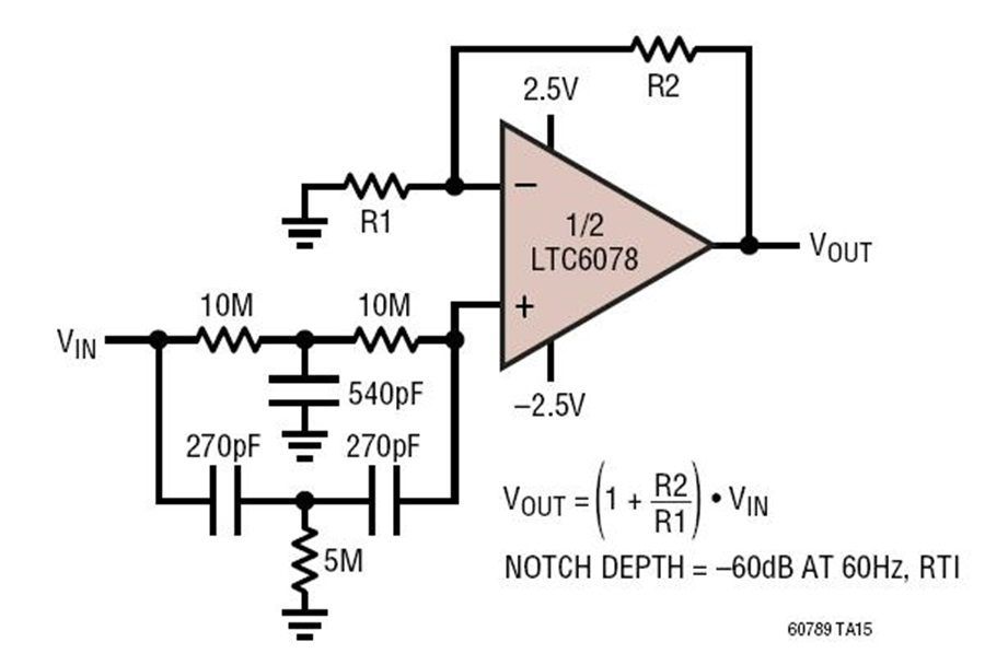 Pleasant Ltc6078 60Hz Notch Filter Circuit Collection Analog Devices Wiring Cloud Onicaxeromohammedshrineorg