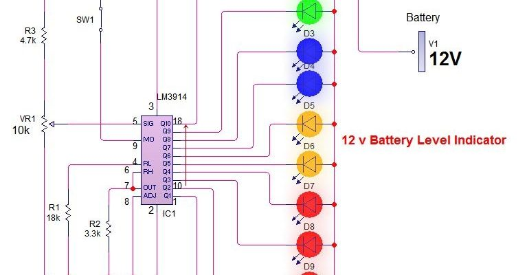 Groovy 12V Battery Level Indicator Circuit With 3914 Ic Battery Charge Wiring Cloud Apomsimijknierdonabenoleattemohammedshrineorg