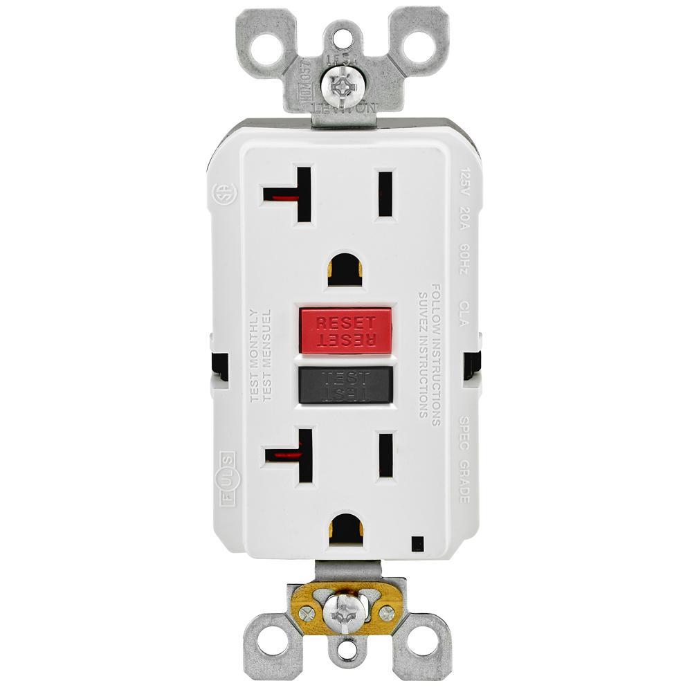 Awe Inspiring Leviton 20 Amp Self Test Smartlockpro Slim Duplex Gfci Outlet White Wiring Cloud Filiciilluminateatxorg