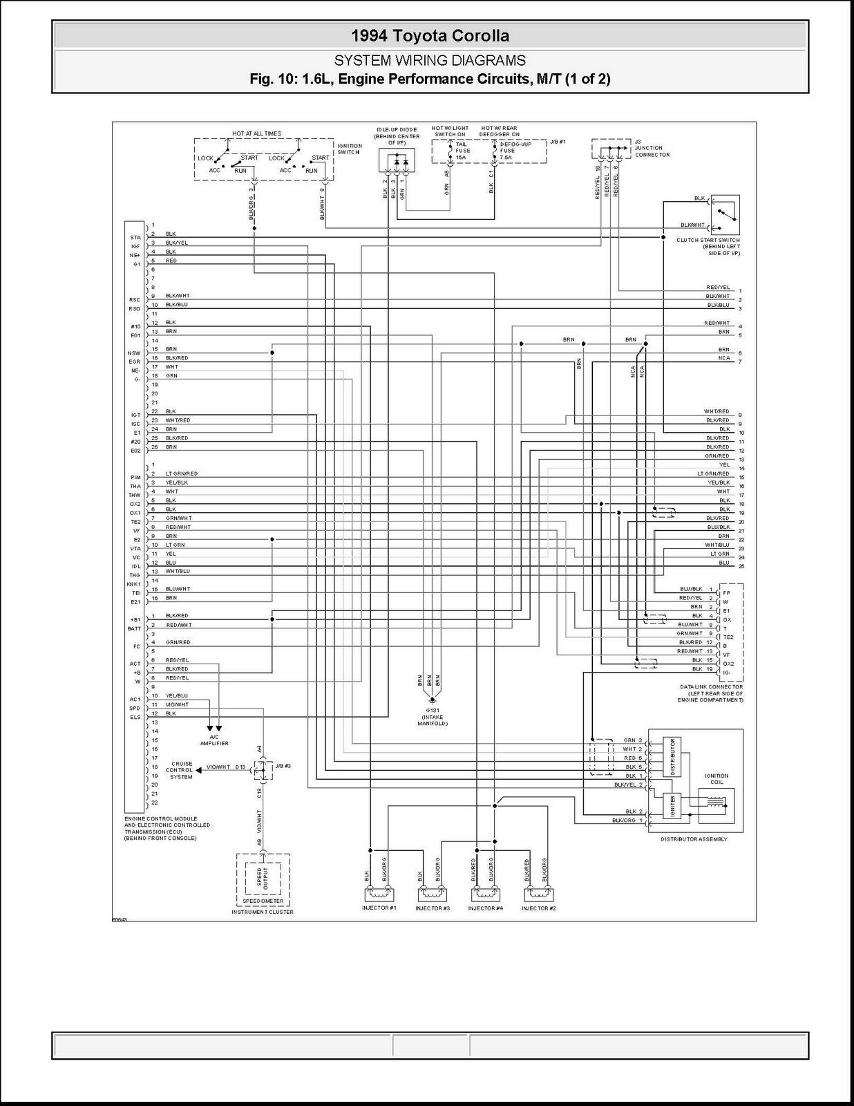 1994 Toyota Corolla Ecu Wiring Diagram - Wiring Diagram